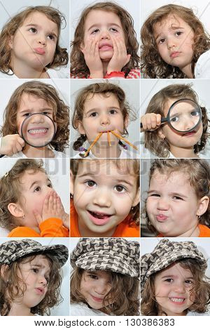 Collage of twelve photos of a young girl with different facial expressions