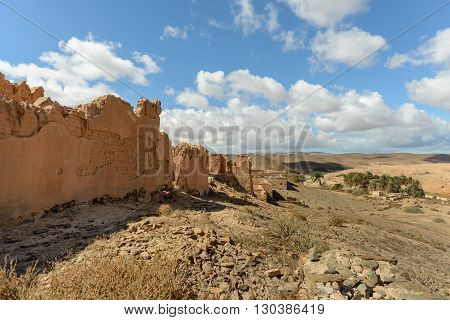 Ruins of barracks at Fort Bou Jerif in south west Morocco.