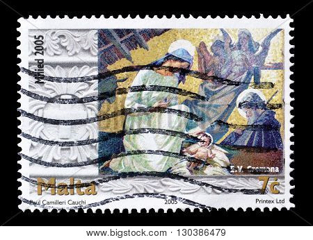 MALTA - CIRCA 2005 : Cancelled postage stamp printed by Malta, that shows Christmas.