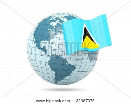 Globe With Flag Of Saint Lucia
