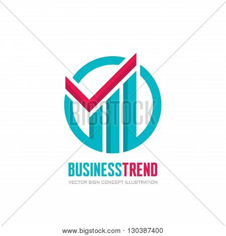 Business trend - vector logo concept illustration. Check mark and growth graphic in circle.