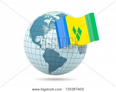 Globe With Flag Of Saint Vincent And The Grenadines