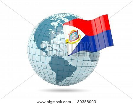 Globe With Flag Of Sint Maarten