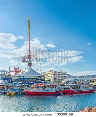 EILAT ISRAEL - FEBRUARY 23 2016: The amusement park next to the beach is the popular tourist attraction in the city center on February 23 in Eilat.