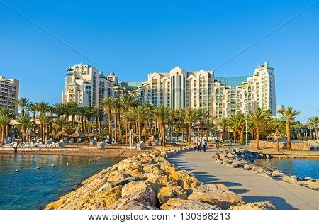 EILAT ISRAEL - FEBRUARY 24 2016: The huge modern hotel complex on the first line of resort on February 24 in Eilat.
