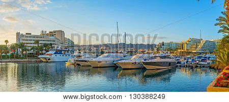 EILAT ISRAEL - FEBRUARY 23 2016: The Lagoona is the best place to enjoy luxury yachts rent a boat for trips or fishing on February 23 in Eilat.