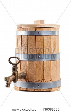 Oak barrel closeup with a crane isolated on white background