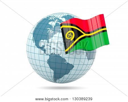 Globe With Flag Of Vanuatu