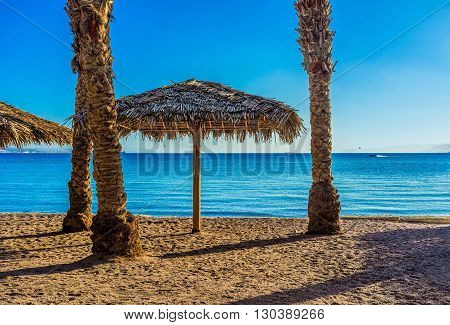 The cozy Northern Beach in Eilat resort Israel.