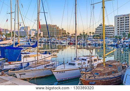 EILAT ISRAEL - FEBRUARY 23 2016: The evening port is one of the most scenic locations in city on February 23 in Eilat.