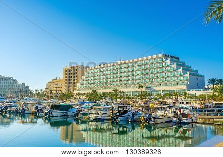 EILAT ISRAEL - FEBRUARY 24 2016: The Israeli resort is famous for its modern comfortable hotels quiet tourist neighborhoods and yacht sport on February 24 in Eilat.
