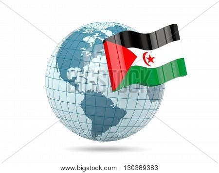 Globe With Flag Of Western Sahara