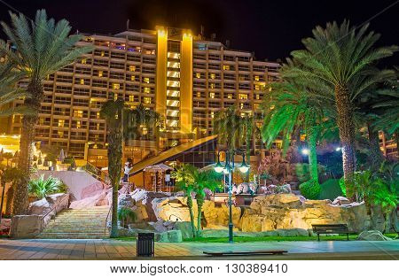 EILAT ISRAEL - FEBRUARY 24 2016: The night view of the large hotel complex in bright lights on February 24 in Eilat.