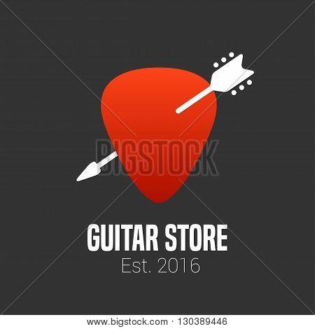 Guitar store vector logo. Music shop design element. Guitar pick illustration