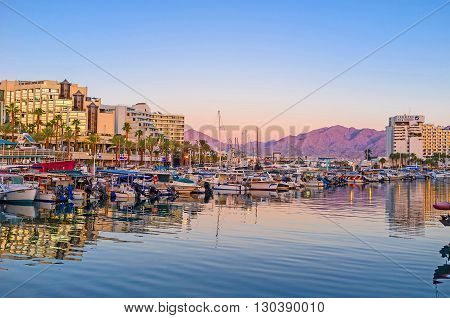 EILAT ISRAEL - FEBRUARY 23 2016: The luxury resort is famous among the tourists and travelers all over the world on February 23 in Eilat.
