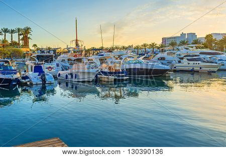 EILAT ISRAEL - FEBRUARY 23 2016: The Lagoona is the most picturesque place to spend the evening and watch the sunset over the yachts on February 23 in Eilat.