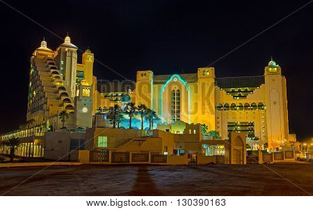 The city becomes completely unrecognizable in bright evening lights Eilat Israel.
