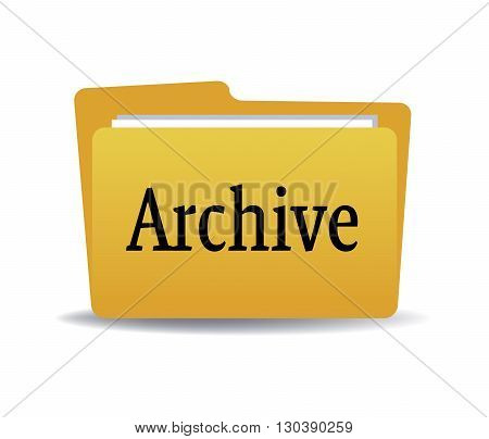 Isolated yellow folder with the word archive written with black letters