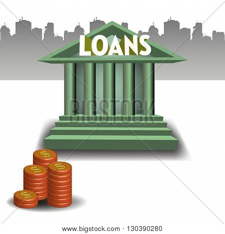 Colorful illustration with bank building and a stack of coins. Loan concept