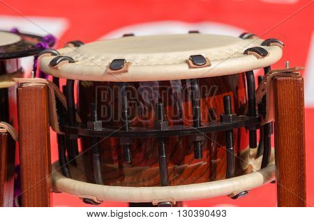 Traditional japanese percussion instrument Taiko or Wadaiko drum. Close shot.