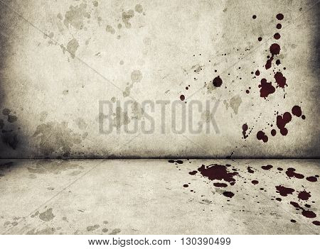 Dirty Cement Wall With Blood Stains