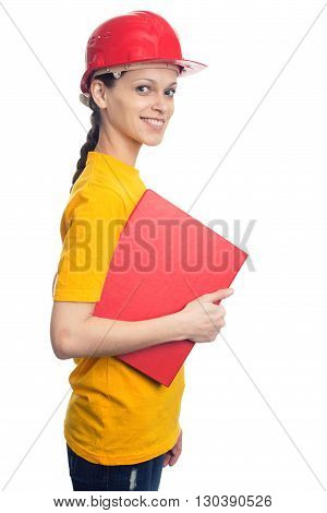Woman In A Helmet Holding A Folder Isolated