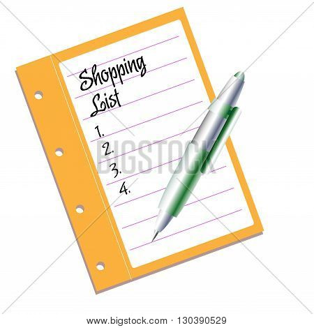 Isolated piece of paper with the text shopping list written with handwritten letters