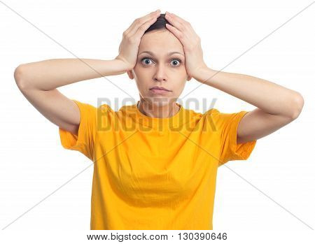Shocked Woman With Hands On Her Head. Isolated