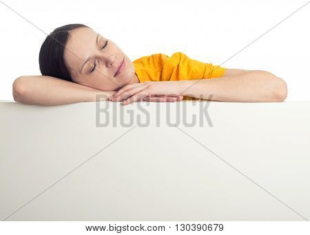 Tired Girl Sleeping Over Blank Banner