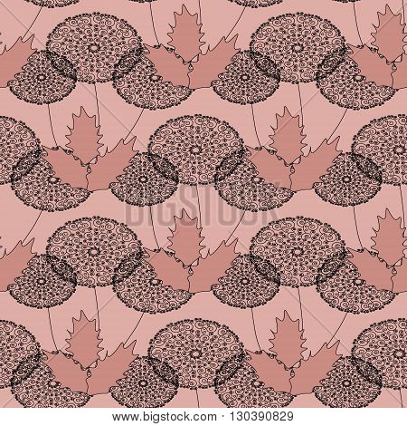 Ornament  from gentle air dandelions on a pink, flesh-colored background.  Seamless pattern. Can be repeated and scaled in any size.