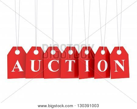 Auction banner - auction text on red hanging labels isolated on white 3D rendering