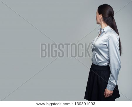 Woman Looking At Blank Text Area