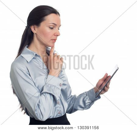 Young Brunette Woman Using Digital Tablet. Isolated