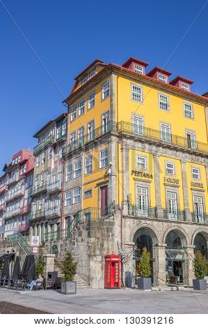 PORTO, PORTUGAL - APRIL 20, 2016: Hotel and houses at the Ribeira in Porto, Portugal