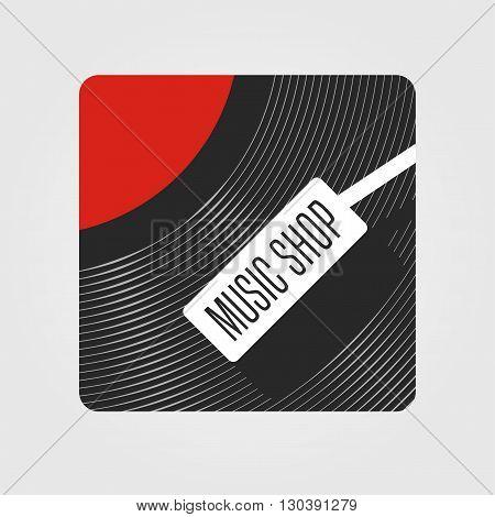 Music store vector logo. Template for music shop. Vinyl plate