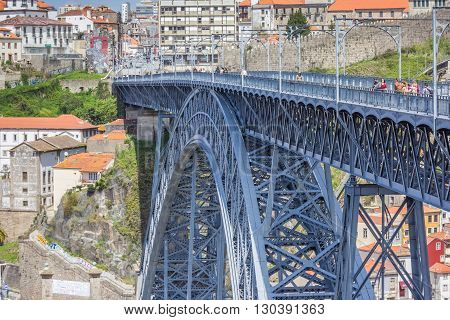 PORTO, PORTUGAL - APRIL 20, 2016: Ponte Luis I, designed by Gustave Eiffel in Porto, Portugal