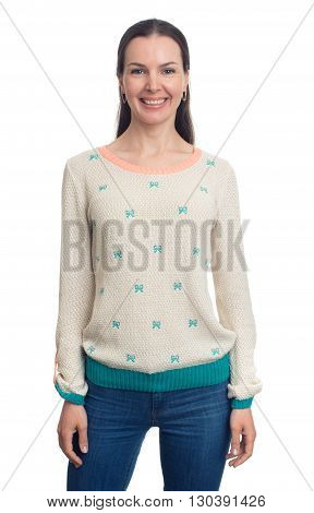 Beautiful Smiling Woman In Sweater Looking At Camera