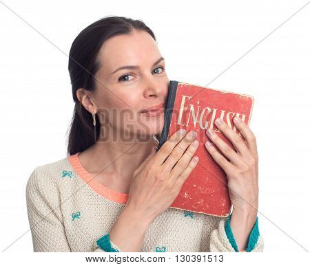 Beautiful Woman Holding An English Textbook