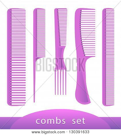 Set of different combs, barber comb, salon, comb hair, isolated on white. Female things. Accessory, care for themselves. Vector illustration of plastic hair comb. EPS 10 Illustrator.