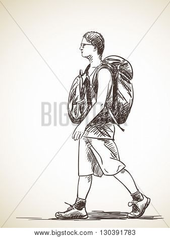 Sketch of tourist walking with two backpacks, Hand drawn vector illustration
