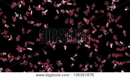flying arrows, abstract background, 3d illustration