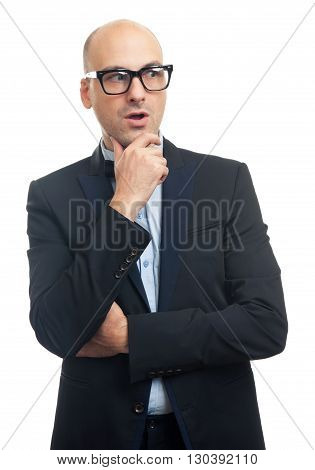 Surprised Fashionable Bald Man Looking Away