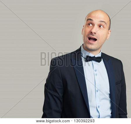 Enthusiastic Man Looking Up