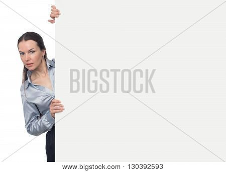 Pretty Brunette Woman Holding Blank Presentation Board