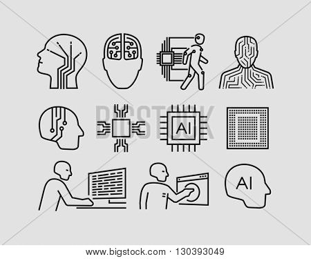 Artificial Intelligence Related Vector Icons
