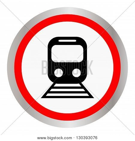 Round icon train, metro or train station. Vector illustration.