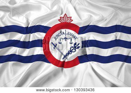 Waving Flag of Cincinnati Ohio, with beautiful satin background