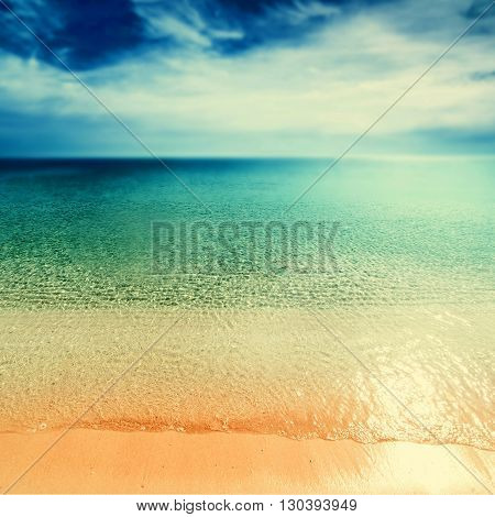 Vintage Beach background / Retro Untouched tropical beach card
