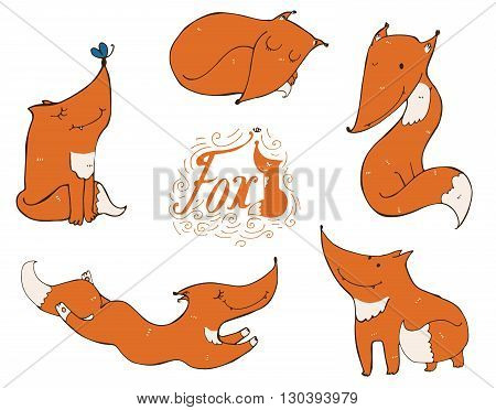 Colorful set of hand drawn cute ginger foxes in different poses sleeping sitting jumping standing. Vector illustration with lettering and imperfections good for character design or mascot