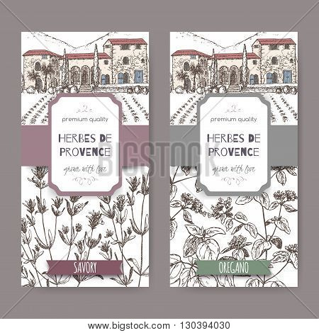 Two Herbes de Provence labels with mansion landscape, savory and oregano sketch. Culinary herbs collection. Great for cooking, medical, gardening design.